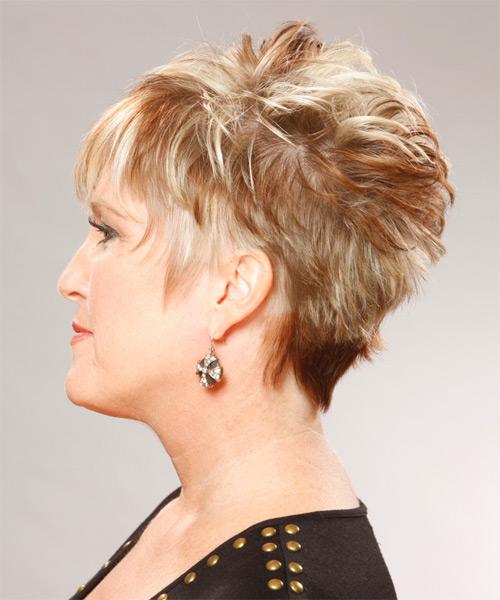 Short Straight Formal Hairstyle Dark Copper Blonde Hair