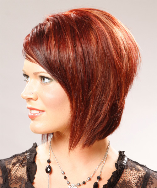Medium Straight Casual Bob Hairstyle With Side Swept Bangs