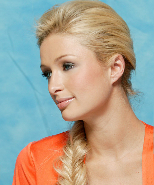 Paris Hilton Long Curly Casual Braided Updo Hairstyle