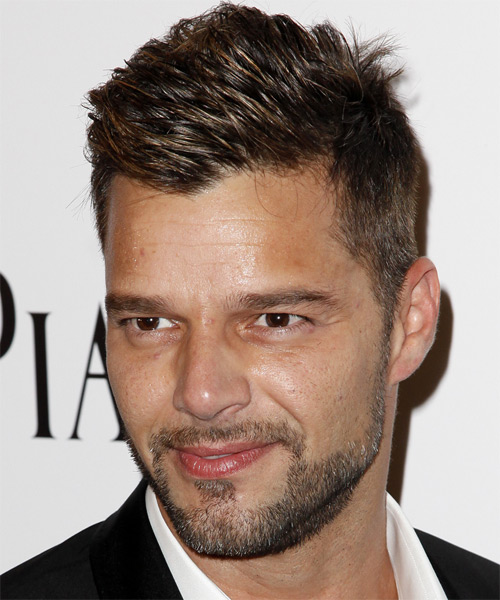 Ricky Martin Casual Short Straight Hairstyle  Dark Brunette Hair Color
