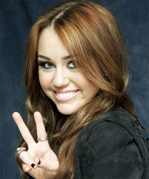 Miley Cyrus Long Wavy Casual Hairstyle Light Brunette