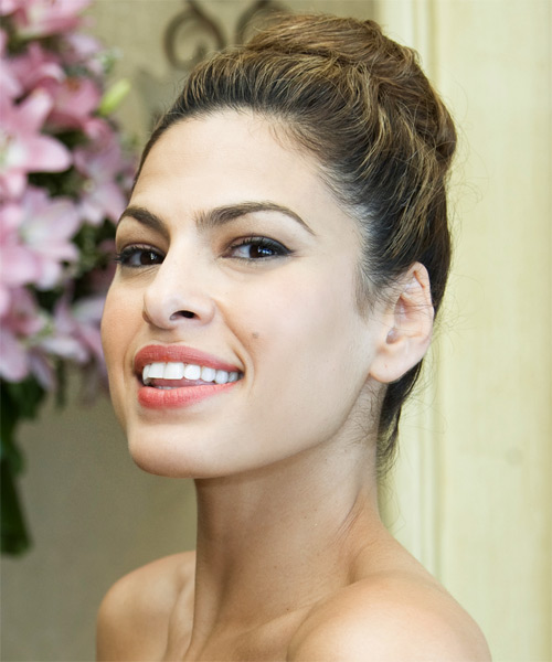 Eva Mendes Long Curly Casual Updo Hairstyle