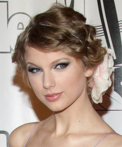Taylor Swift Long Curly Formal Updo Hairstyle Dark Ash