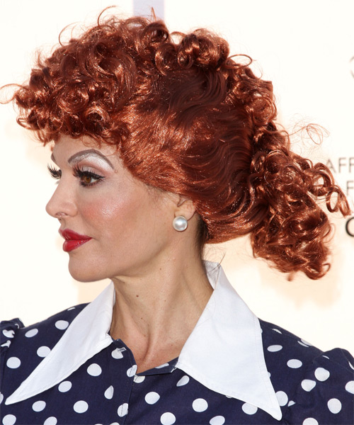 Lisa Rinna Formal Long Curly Updo Hairstyle  Light Red