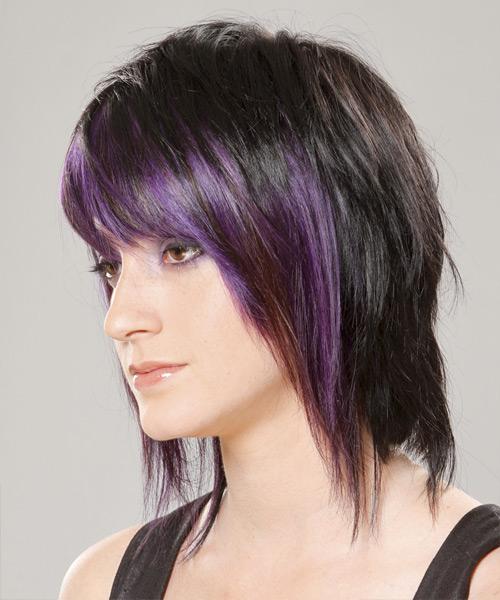 Medium Straight Alternative Hairstyle With Razor Cut Bangs