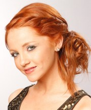 long curly ginger red braided updo