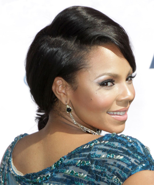 Ashanti Long Curly Formal Updo Hairstyle With Side Swept