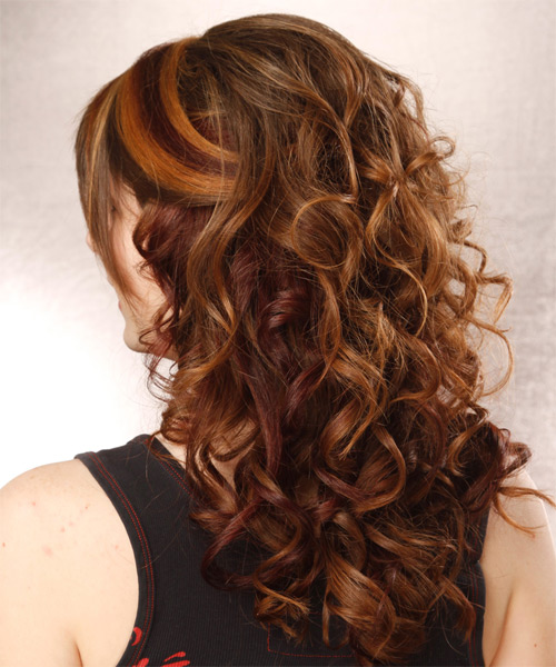 Long Curly Formal Half Up Hairstyle With Layered Bangs