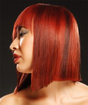 medium straight dark red emo hairstyle