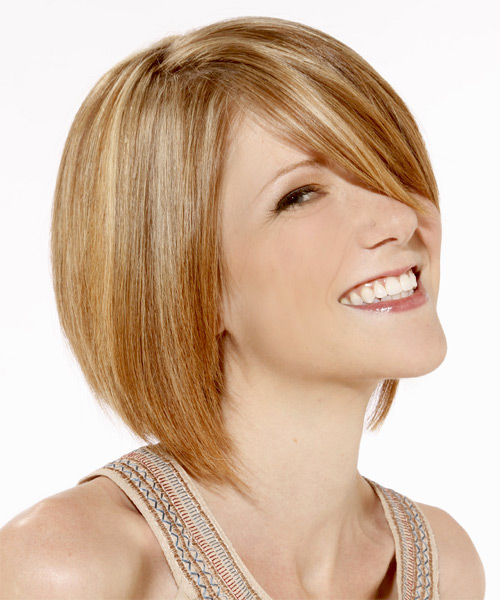 Medium Straight Layered Golden Blonde Bob Haircut with