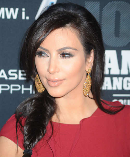 Kim Kardashian Long Curly Casual Braided Half Up Hairstyle
