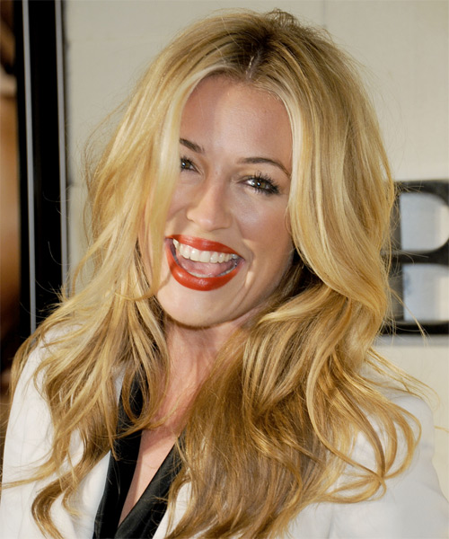 Cat Deeley Casual Long Wavy Hairstyle Golden Blonde Hair