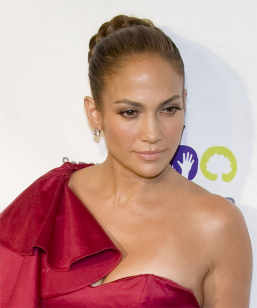 Jennifer Lopez Long Curly Formal Braided Updo Hairstyle
