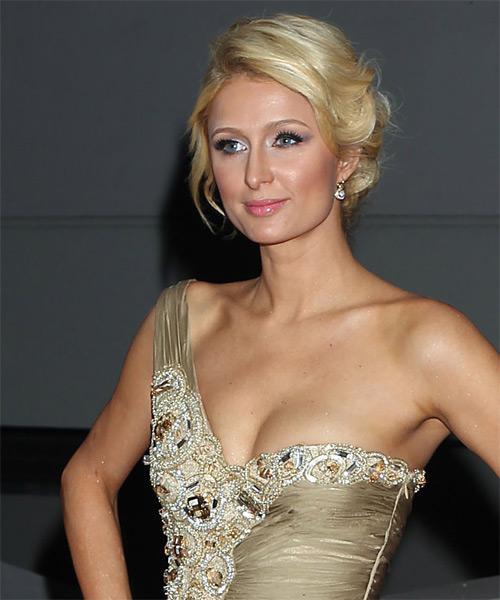 Paris Hilton Long Straight Casual Updo Hairstyle Light