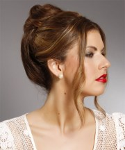 long straight dark brunette updo