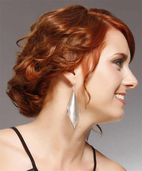 Formal Medium Curly Updo Hairstyle with Side Swept Bangs