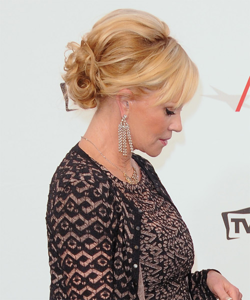 Melanie Griffith Long Curly Formal Updo Hairstyle Golden