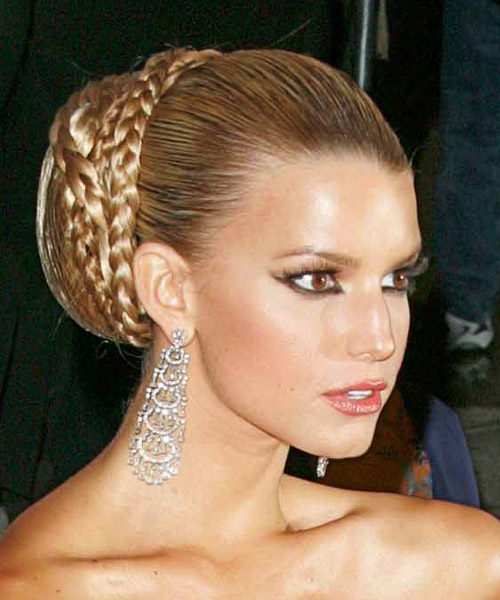 Jessica Simpson Long Straight Formal Updo Hairstyle