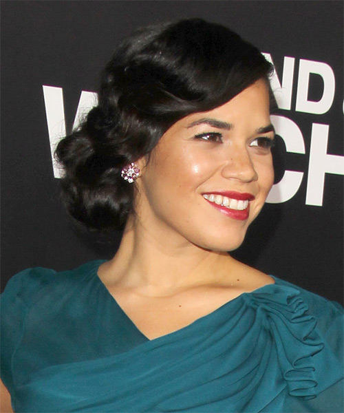 America Ferrera Formal Long Curly Updo Hairstyle  Black