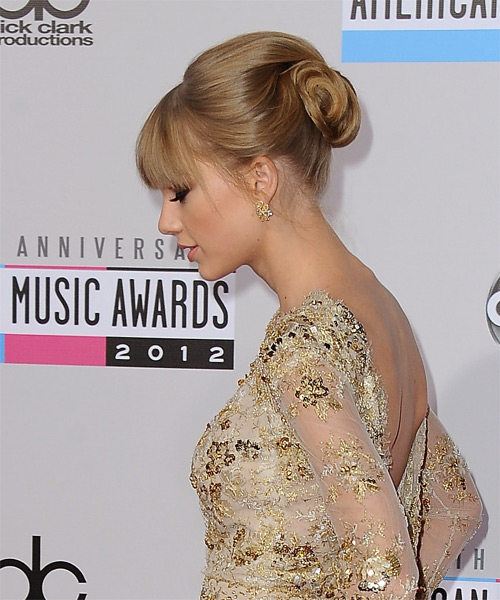 Taylor Swift Long Straight Formal Updo Hairstyle With