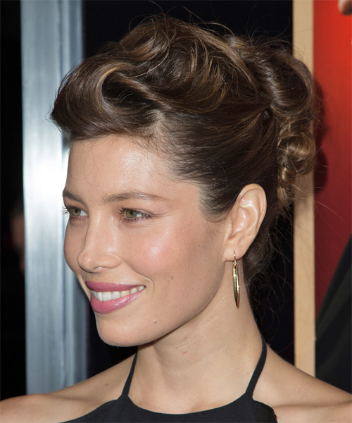 Jessica Biel Long Straight Formal Updo Hairstyle