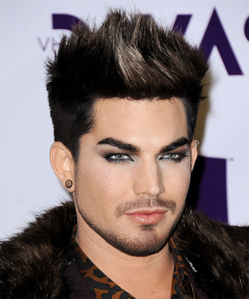 Adam Lambert Short Straight Casual Hairstyle  Black and Light Brunette TwoTone Hair Color