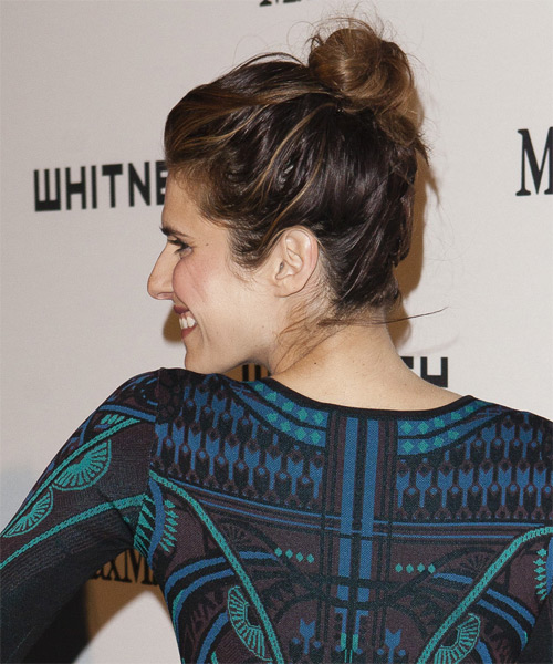 Lake Bell Long Straight Casual Updo Hairstyle Dark