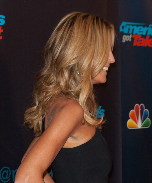 Heidi Klum Casual Long Wavy Hairstyle Honey Blonde Hair