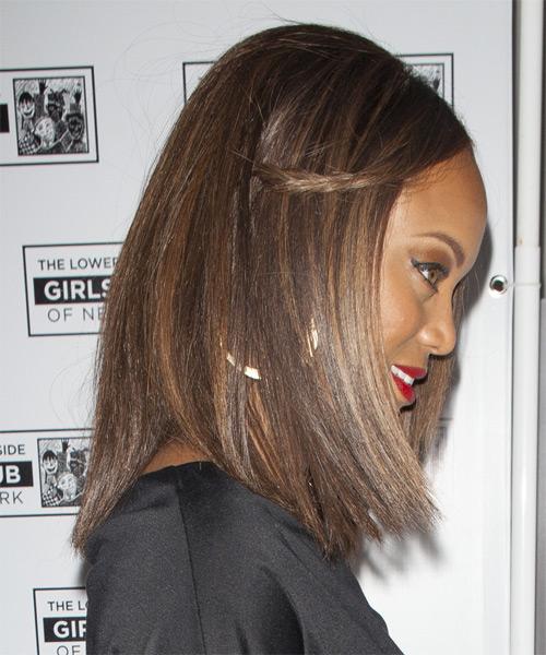 Tyra Banks Casual Medium Straight Hairstyle Chocolate
