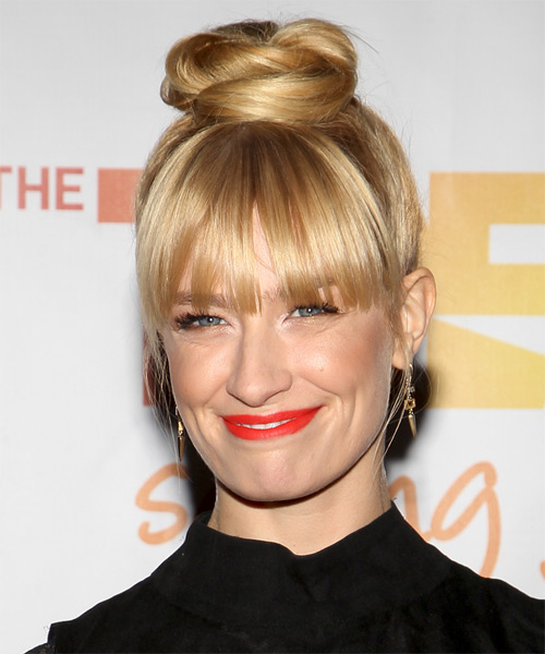 Beth Behrs Long Straight Formal Updo Hairstyle Light