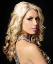 long curly light blonde hairstyle
