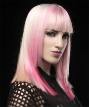 long straight pink hairstyle