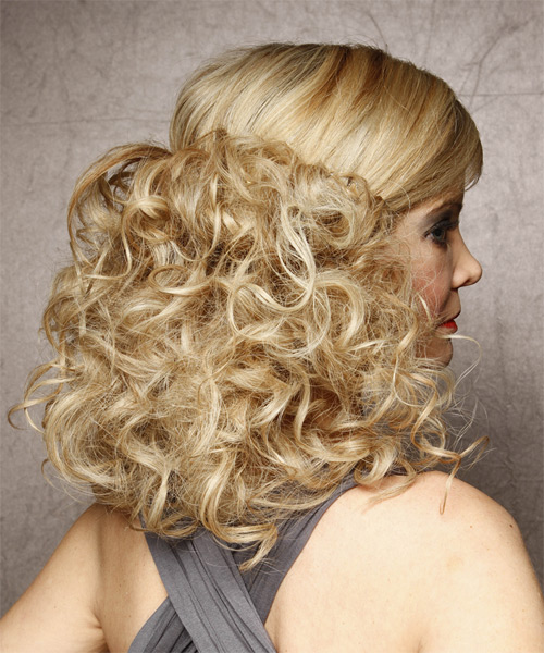 Half Up Long Curly Formal Half Up Hairstyle Light Blonde