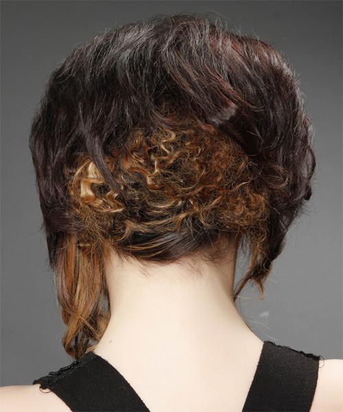 Medium Curly Formal Asymmetrical Updo Hairstyle Dark