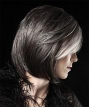 medium straight dark grey bob haircut