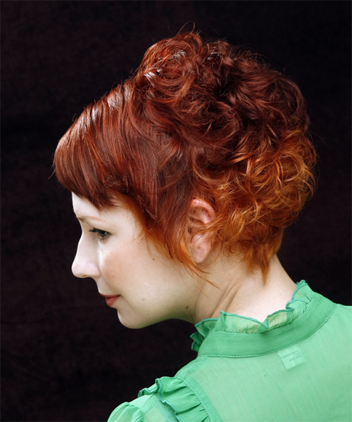 Short Curly Casual Hairstyle With Side Swept Bangs