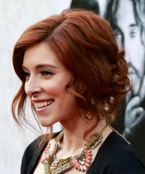 Kate Gorney Medium Curly Formal Updo Hairstyle Mahogany