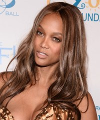 Tyra Banks Long Straight Casual Hairstyle - Chestnut ...