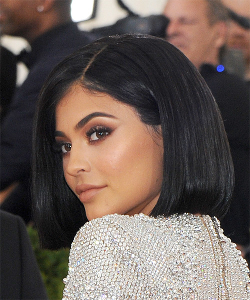 Kylie Jenner Casual Medium Straight Bob Hairstyle Black