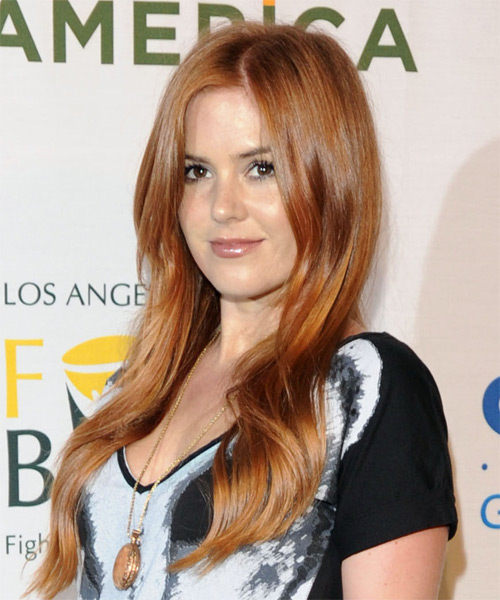 Isla Fisher Long Wavy Casual Hairstyle Light Copper Red