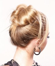 long straight blonde updo