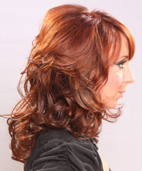 Long Curly Formal Hairstyle With Side Swept Bangs Ginger