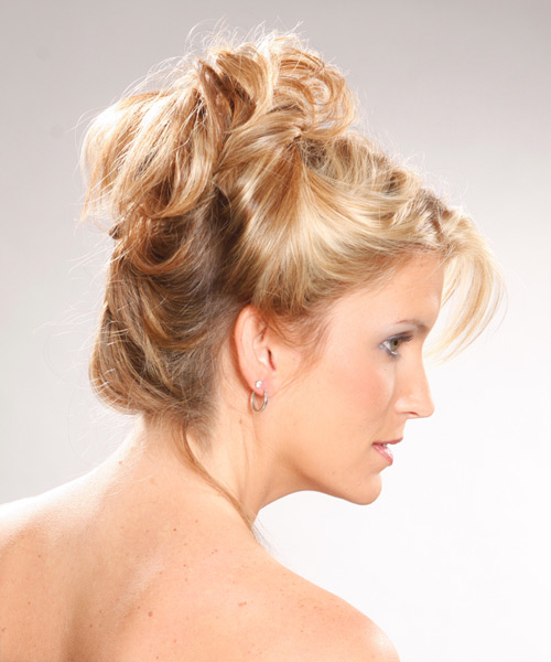 Long Curly Casual Updo Hairstyle Light Golden Blonde
