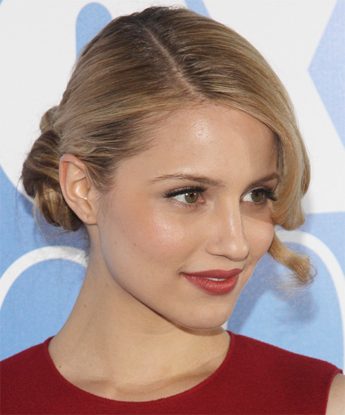 Dianna Agron Long Curly Formal Updo Hairstyle