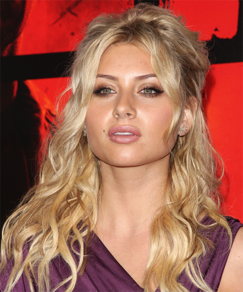 Alyson Michalka Half Up Long Curly Casual Half Up Hairstyle