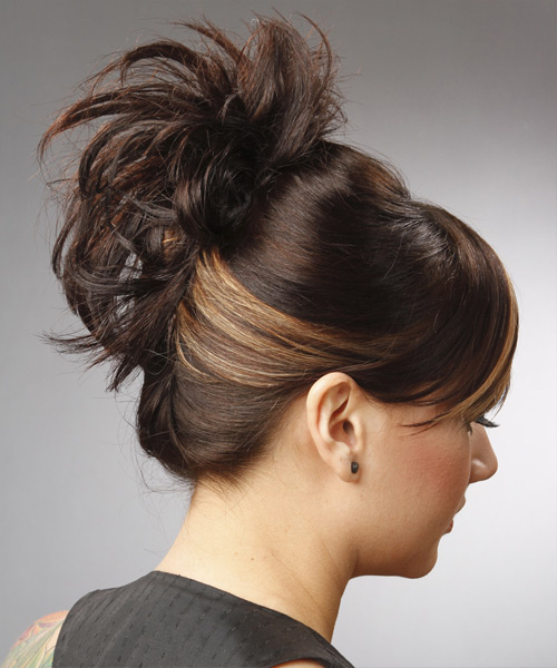 Casual Long Straight Updo Hairstyle with Side Swept Bangs  Dark Brunette and Light Blonde Two
