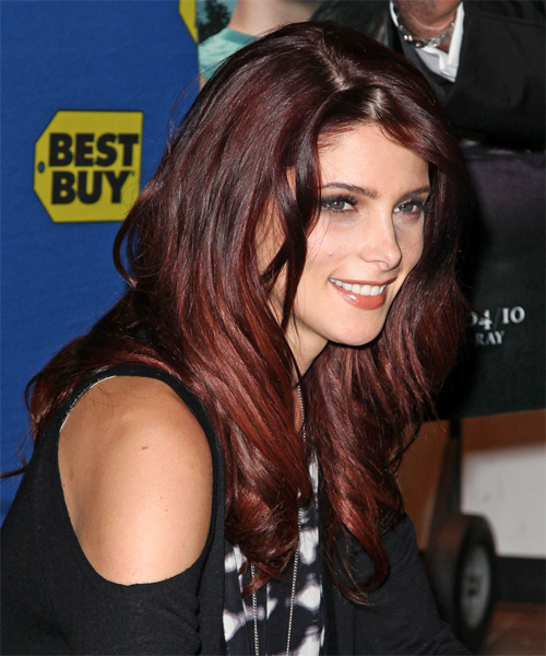 Ashley Greene Long Wavy Casual Hairstyle Dark Red And