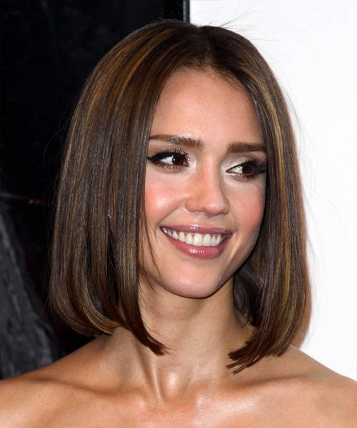 Jessica Alba Medium Straight Formal Bob Hairstyle Dark