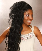 long curly black braided updo