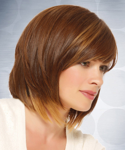 Casual Medium Straight Bob Hairstyle with Side Swept Bangs